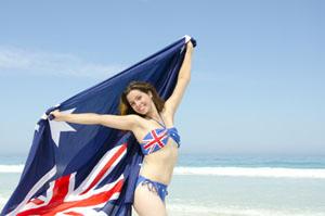 Australian woman with the Australian flag