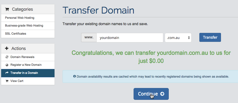 Transfer domain name to Zen Hosting and pay less for domain name renewals
