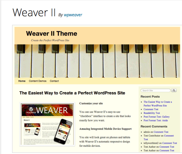 Weaver II WordPress theme